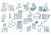 Chemistry Lab Work Science Equipment. Hand Drawn Formulas Science Knowledge Education. poster