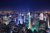 New York City Manhattan Times Square panorama aerial view at night with office building skyscrapers
