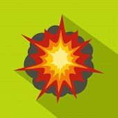 Fire Explosion Icon. Flat Illustration Of Fire Explosion Icon For Web poster