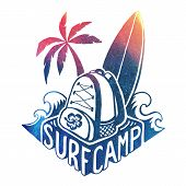 Colored Vector Surfing Camp Logo Template With Waves, Surf Board, Palm Tree And Backpack On Hand Dra poster