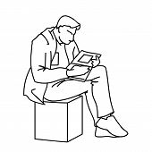 An Adult Man Is Reading A Book Sitting On A Cube. Vector Illustration Of A Man Gazing Intently Into  poster