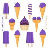 Vector Illustration For Natural Blackcurrant Ice Cream On Stick, In Paper Bowls, Wafer Cones. Ice Cr poster