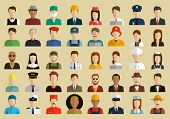 People Of Different Occupations. Professions Icons Set. Flat Design. Vector poster