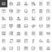Books And Education Outline Icons Set. Linear Style Symbols Collection, Line Signs Pack. Vector Grap poster