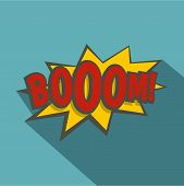 Boom, Explosion Icon. Flat Illustration Of Boom, Explosion Icon For Web Isolated On Baby Blue Backgr poster