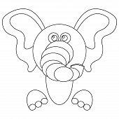 Elephant Icon. Vector Illustration Of Cartoon Elephant. Funny Elephant. poster