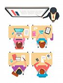 Class Top View. Students And Teacher Learning In College Classroom With Blackboard Vector Illustrati poster