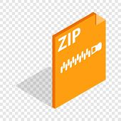 Archive Zip Format Isometric Icon 3d On A Transparent Background Illustration poster