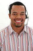 image of rep  - Attractive twenties African American man customer service rep - JPG