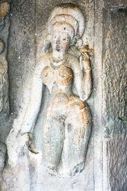 pic of shankar  - Statue in ancient rock temples at Ajanta  - JPG