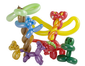 picture of parti poodle  - Balloon animal group isolated on white - JPG