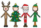 stock photo of rudolph  - Illustration of four kids holding hand in Christmas costumes - JPG
