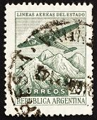 Postage stamp Argentina 1946 Plane over the Andes