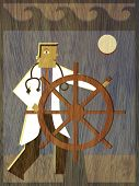 pic of world health organization  - A physician steering a ship in the ocean - JPG