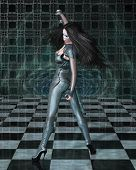 stock photo of catsuit  - Dark haired science fiction style woman in shiny blue catsuit and blue makeup reflected in a vortex mirror and checked floor - JPG