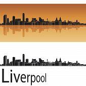 Постер, плакат: Ливерпуль skyline в оранжевом фоне