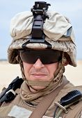 stock photo of protective eyewear  - US marine in the desert uniform and protective military eyewear - JPG