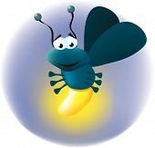 stock photo of fireflies  - a very happy firefly lighting up the night - JPG