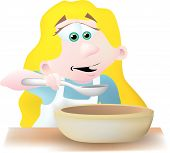 image of nursery rhyme  - a blond Goldilocks tasting the porridge that the tree bears left behind - JPG