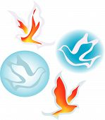 picture of holy-spirit  - four different versions of the holy spirit as fire and as a dove - JPG