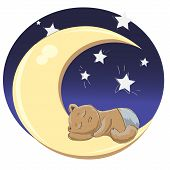 picture of drow  - sleeping baby boy on the moon surrounded by the shining stars and the night sky - JPG