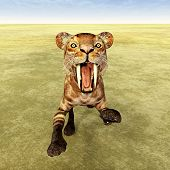 stock photo of saber-toothed  - Computer generated 3D illustration with the Smilodon - JPG