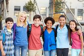 stock photo of 11 year old  - Group of Elementary Pupils Outside Classroom - JPG