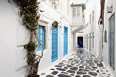 image of greek-island  - Traditional streets of Mykonos island in Greece - JPG
