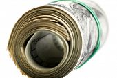 Roll of dollars isolated on white background