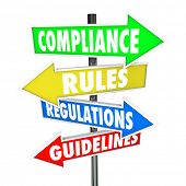 stock photo of arrow  - The words Compliance - JPG