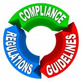 Circular diagram of Compliance, Guidelines and Regulations to illustrate how to comply with importan