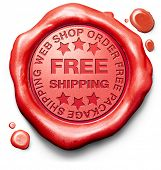 free shipping package delivery from online order at internet web shop, webshop red label icon sign o