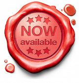 now available brand new product release red label icon or stamp poster