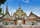 Buddhist temple, Wat Pho temple in Bangkok, Landmark and No. 1 tourist attractions in Thailand.