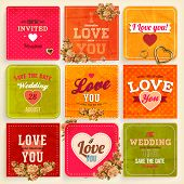 Set of Love and weeding label cards with flowers and hearts for retro invitations design. Old paper
