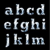 Shiny diamond alphabet letters (lowercase)- raster version