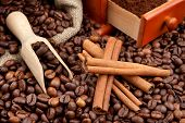 picture of wooden box from coffee mill  - coffee beans wooden scoop cinnamon sticks and hand grinder - JPG