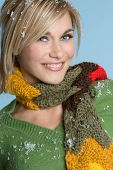 stock photo of blue eyes  - Beautiful happy young blonde winter fashion lady - JPG