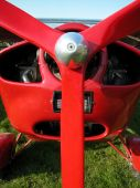 foto of ultralight  - Ultralight airplane ready to fly in a sunny day - JPG