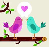 Love Birds on a branch poster