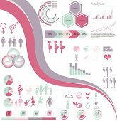 image of gender  - vector set of infographic elements and icons concerning to pregnancy - JPG