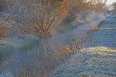 image of steamy  - Frosty grass and steamy stream landscape in the early morning winter light - JPG