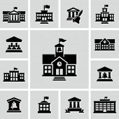 stock photo of city silhouette  - School building icon - JPG