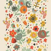 stock photo of cartoons  - Gentle floral seamless pattern in bright colors - JPG