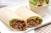 foto of shawarma  - kafta shawarma chicken pita wrap roll sandwich traditional arab mid east food - JPG