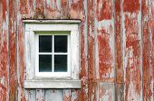 stock photo of red siding  - Rustic Red Barn Siding and Window Background - JPG