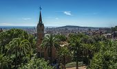 stock photo of gaudi barcelona  - View of Park Guell designed by Antoni Gaudi, Barcelona, Spain
