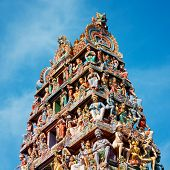 stock photo of hindu temple  - Details of Sri Mariamman Hindu Temple in Singapore - JPG