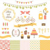stock photo of pigeon  - Set for wedding design. Save the date.  The set includes frames, cake, cupcakes, flags, flowers, hearts, banks, keys, tape, bikes, pigeons, seamless patterns.  Eps 10 - JPG