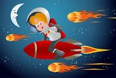 foto of meteoric rain  - illustration of a child racing with meteors riding red rocket on space background - JPG